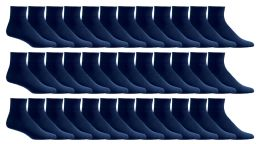36 Units of Yacht & Smith Women's Diabetic Cotton Ankle Socks Soft Non-Binding Comfort Socks Size 9-11 Navy - Women's Diabetic Socks