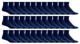 36 Units of Yacht & Smith Men's Loose Fit Non-Binding Soft Cotton Diabetic Quarter Ankle Socks,Size 10-13 Navy - Men's Diabetic Socks