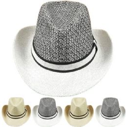 24 Units of Men's Straw Summer Cowboy Hat - Sun Hats