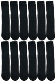 12 Units of Yacht & Smith 28 Inch Men's Long Tube Socks, Black Cotton Tube Socks Size 10-13 - Mens Tube Sock