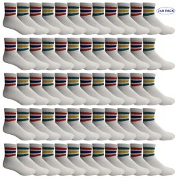 240 Units of Yacht & Smith Men's King Size Premium Cotton Sport Ankle Socks Size 13-16 With Stripes - Big And Tall Mens Ankle Socks