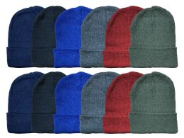 24 Units of Yacht & Smith Kids Winter Beanie Hat Assorted Colors Bulk Pack Warm Acrylic Cap - Winter Beanie Hats