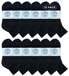 12 Units of Yacht & Smith Women's Premium Cotton Ankle Socks Black Size 9-11 - Womens Ankle Sock