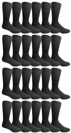 24 Units of Yacht & Smith Mens Fashion Designer Dress Socks, Cotton Blend, Textured Design Knit (24 Pairs Black) - Mens Dress Sock