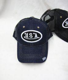 "36 Units of ""USA"" Denim Base Ball Cap - Baseball Caps & Snap Backs"