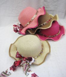 24 Units of Girl's Floral Sun Hat With Chain - Sun Hats