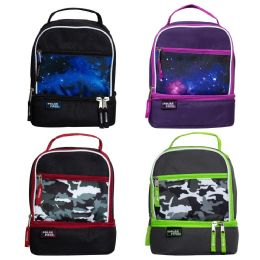 """24 Units of 11"""" Inch Insulated Lunch Cooler with Multiple Compartments in 4 Assorted Colors - Lunch Bags & Accessories"""