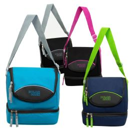 """24 Units of 10"""" Bulk Dual Compartment Insulated Lunch Kit Cooler in 5 Assorted Colors - Lunch Bags & Accessories"""