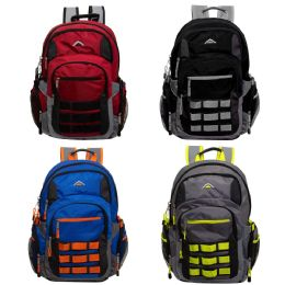 """24 Units of 19"""" Multi Compartment Laptop Backpack with Web Face in 4 Assorted Colors - Backpacks 18"""" or Larger"""