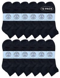12 Units of Yacht & Smith Men's King Size Premium Cotton Sport Ankle Socks Size 13-16 Solid Black - Big And Tall Mens Ankle Socks