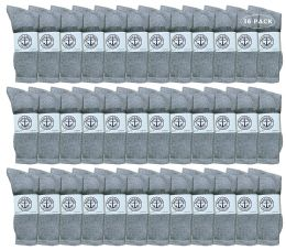 36 Units of Yacht & Smith Men's King Size Premium Cotton Crew Socks Gray Size 13-16 - Big And Tall Mens Crew Socks