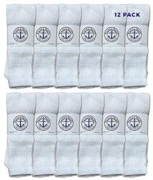 12 Units of Yacht & Smith 28 Inch Men's Long Tube Socks, White Cotton Tube Socks Size 13-16 - Mens Tube Sock