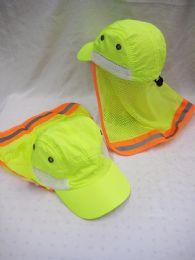 36 Units of Neon Yellow Sun Cap With Sun Cover - Sun Hats