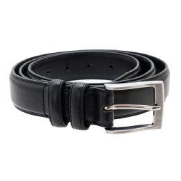12 Units of Men's Genuine Leather Dress Belts, Black Color Only - Mens Belts