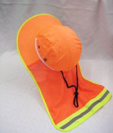 24 Units of Adults Neon Orange Sun Hat With Cover - Sun Hats