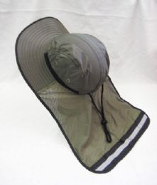 24 Units of Adults Olive Color Sun Hat With Cover - Sun Hats