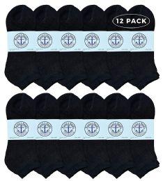 12 Units of Yacht & Smith Men's No Show Ankle Socks, Premium Quality Cotton. Size 10-13 Black - Mens Ankle Sock