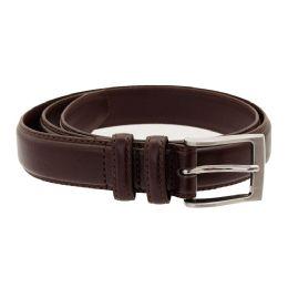 36 Units of Men's Genuine Leather Dress Belts, Cognac Color Only - Mens Belts