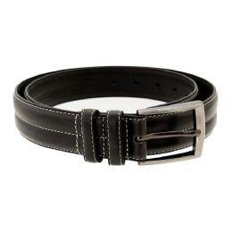 36 Units of Men's Genuine Leather Dress Belts, Black Color Only - Mens Belts