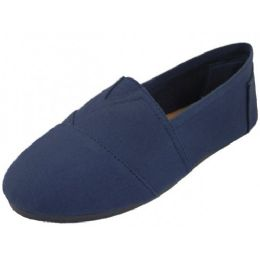 24 Units of Men's Slip On Casual Canvas Shoe In Navy - Men's Sneakers