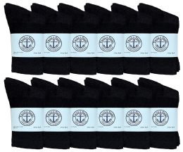 12 Units of Yacht & Smith Kids Cotton Crew Socks Black Size 4-6 - Boys Crew Sock