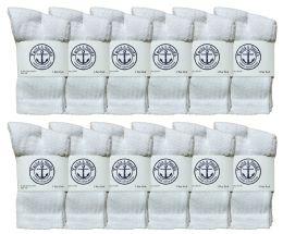 12 Units of Yacht & Smith Kids Cotton Crew Socks White Size 4-6 - Boys Crew Sock