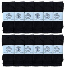 12 Units of Yacht & Smith Kids Solid Tube Socks Size 6-8 Black - Boys Crew Sock