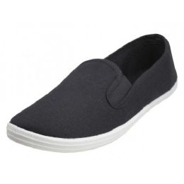 24 Units of Children's Slip On Twin Gore Canvas Shoes *Black Upper With White Sole ( *Black Color ) - Unisex Footwear