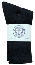 240 Units of Yacht & Smith Kids Premium Cotton Crew Socks Black Size 6-8 - Boys Crew Sock