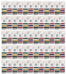 72 Units of Yacht & Smith Women's Cotton Striped Tube Socks, Referee Style Size 9-15 22 Inch - Women's Tube Sock