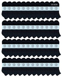 48 Units of Yacht & Smith Men's Cotton Quarter Ankle Sport Socks Size 10-13 Solid Black - Mens Ankle Sock