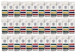 36 Units of Yacht & Smith Men's Cotton Terry Tube Socks, 30 Inch Referee Style, Size 10-13 White With Stripes - Mens Tube Sock
