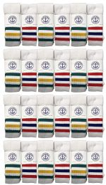24 Units of Yacht & Smith Men's Cotton Tube Socks, Referee Style, Size 10-13 White With Stripes - Mens Tube Sock