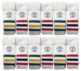 12 Units of Yacht & Smith Men's Cotton Terry Tube Socks, 30 Inch Referee Style, Size 10-13 White With Stripes - Mens Tube Sock