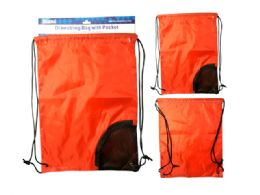 288 Units of Drawstring Bag With Pocket - Draw String & Sling Packs