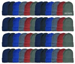 48 Units of Yacht & Smith Kids Winter Beanie Hat Assorted Colors - Winter Beanie Hats