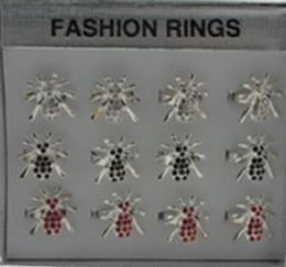 144 Units of Silvertone Adjustable Ring With Spider Design And Rhinestone Accents Assorted Colors - Rings