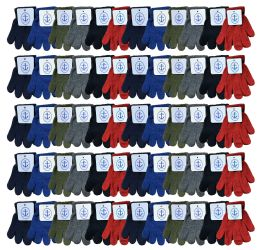 72 Units of Yacht & Smith Kids Warm Winter Colorful Magic Stretch Gloves Ages 2-5 - Kids Winter Gloves