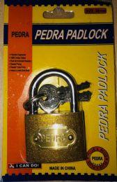 72 Units of 50mm Brass Padlock In Blister Card - Padlocks and Combination Locks