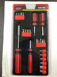 24 Units of 22 Piece Multi Tool Screw Driver And Ratchet Set - Screwdrivers and Sets