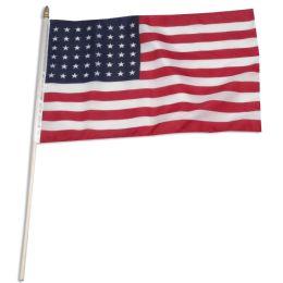 144 Units of 12 x 18 Inch Nylon USA American Flag On 24 Inch Stick - Flag