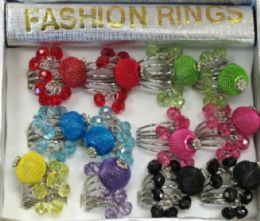 36 Units of Silver Tone Ring With Two Different Colored Dangle Accent Beads And A Mesh Colored Ball - Rings