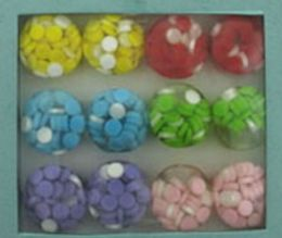 36 Units of Round Solid Acrylic Ring With Embedded Circles Assorted Colors - Rings