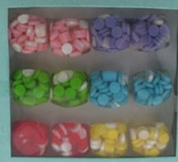 36 Units of Solid Acrylic Hexagon Ring With Embedded Circles Assorted Colors - Rings