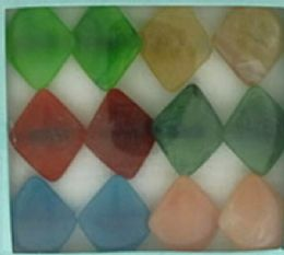 36 Units of Diamond Shaped Acrylic On Black Acrylic Band Assorted Colors - Rings