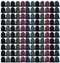 144 Units of Yacht & Smith Mens Womens Warm Winter Hats in Assorted Colors, Mens Womens Unisex (144 Pairs Assorted) - Winter Beanie Hats
