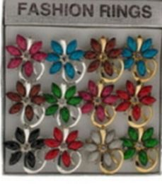 36 Units of Silver Tone And Gold Tone Rings With Assorted Colored Stones In A Flower Pattern - Rings