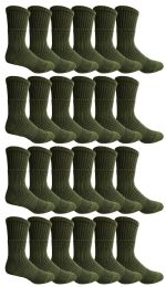 24 Units of Yacht & Smith Military Grade Wick Dry Crew Socks ,Heavy Duty Boot Sock, Army Green - Mens Crew Socks