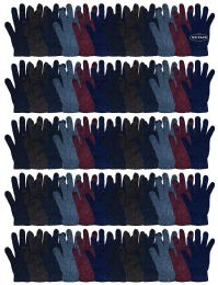 120 Units of Yacht & Smith Men's Winter Gloves, Magic Stretch Gloves In Assorted Solid Colors - Knitted Stretch Gloves