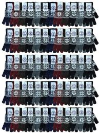60 Units of Yacht & Smith Snowflake Print Mens Winter Gloves With Stretch Cuff - Knitted Stretch Gloves